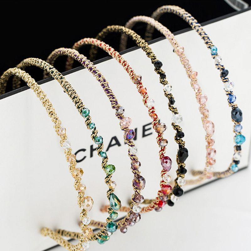 Women Girls Korean Style Luxury Glitter Rhinestone Headband Contrast Colored Faux Crystal Jewel Hair Hoop Metallic Hair Ornament