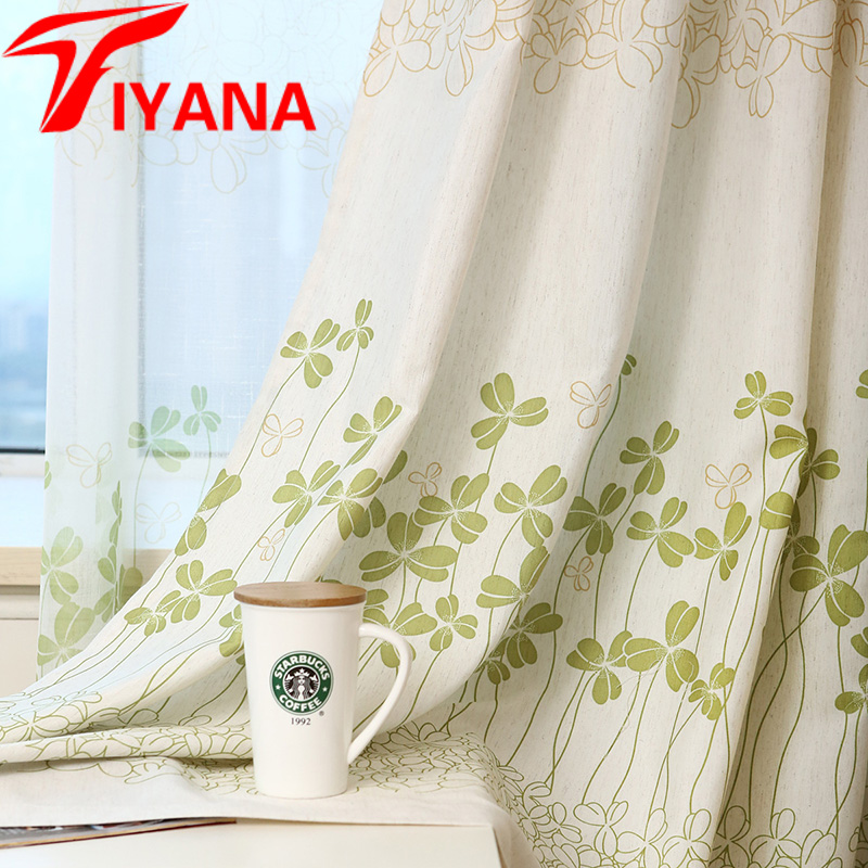 Clover Lucky Green Leaves Curtains Rustic Style Sheer For