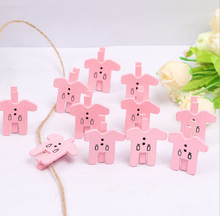 100/200Pieces 3.0x0.3cm Pink Party Photo Paper Lovely Shape Crafts Mini Wooden Clip Peg