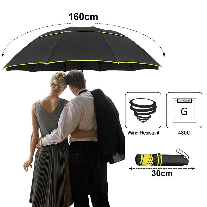 Image 2 - 130cm Umbrella Rain Women Men 3Folding Portable Double Layer Outdoor Large Paraguas Strong Windproof Business For Men UmbrellasUmbrellas   -
