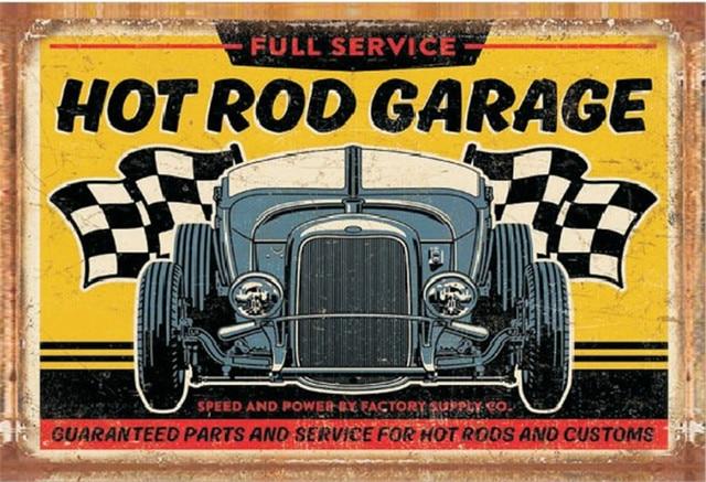 Vintage Decoración Para El Hogar Hor Rod Garage Vintage Metal Tin
