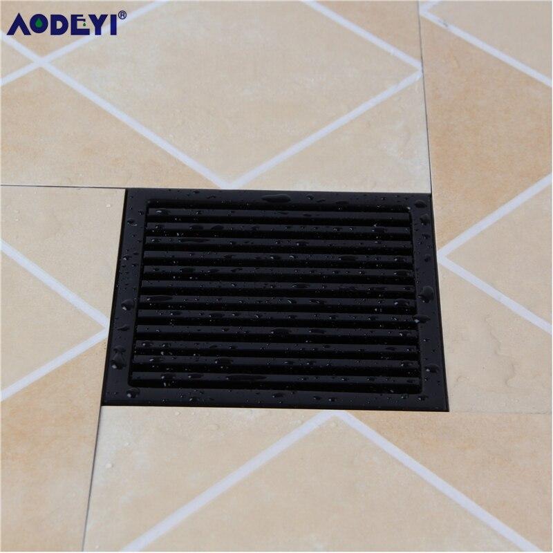 Aodeyi Black Sus 304 Stainless Steel Shower Drain Bathroom Floor