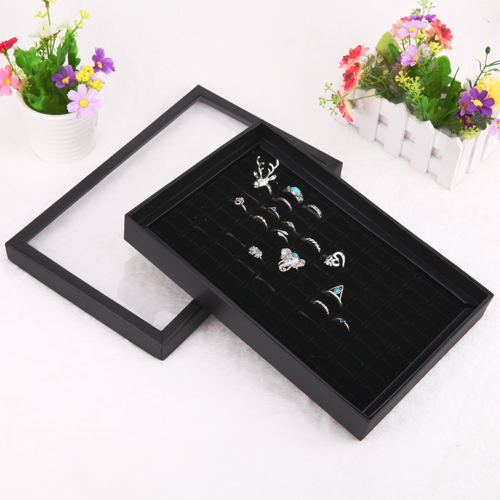 Portable Jewelry Studs Rings Earring Insert Display Cufflinks Organizer Box Flat Tray Holder Storage Showcase