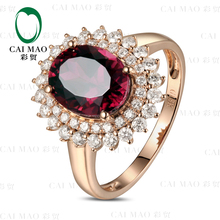 CaiMao 3.05ct Natural Pink Tourmaline & 0.66ct Diamond 18k Gold gemstone engagement ring Fine Jewelry