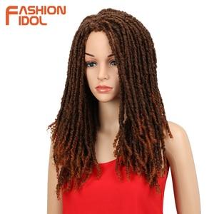 Image 3 - FASHION IDOL 22 Inch Synthetic Wigs For Black Women Crochet Braids Twist Jumbo Dread Faux Locs Hairstyle Long Afro Brown Hair