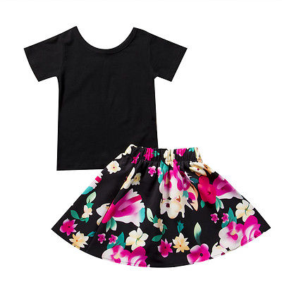 a71a855be848 Baby Kids Girl Black Charming Short Sleeve Top T-Shirt And Floral Skirt  Outfit Set Clothes