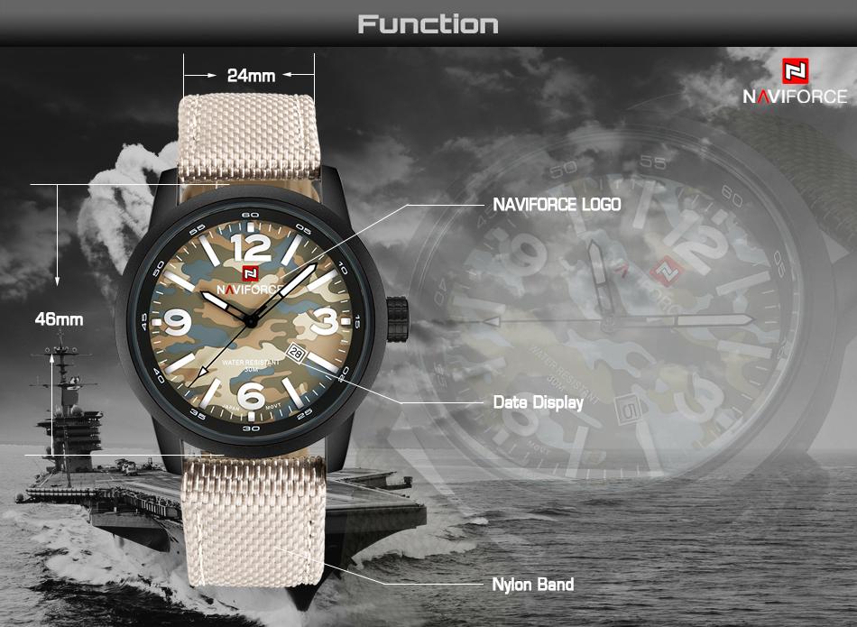 2017 Nouveau NAVIFORCE Hommes Quartz Sport Militaire Montres Hommes De Luxe de Marque De Mode Casual Montre-Bracelet Relogio Masculino Homme Horloge 5