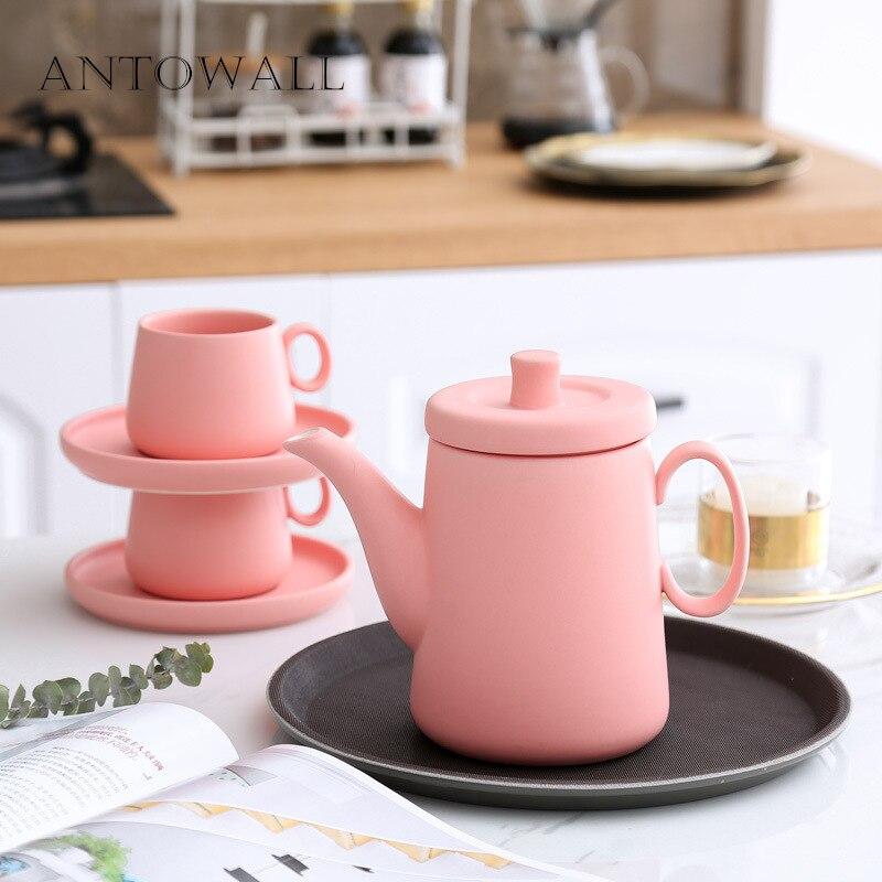 ANTOWALL mat gommage céramique rouge théière cafetière bouilloire 6 couleurs Simple après-midi thé théière