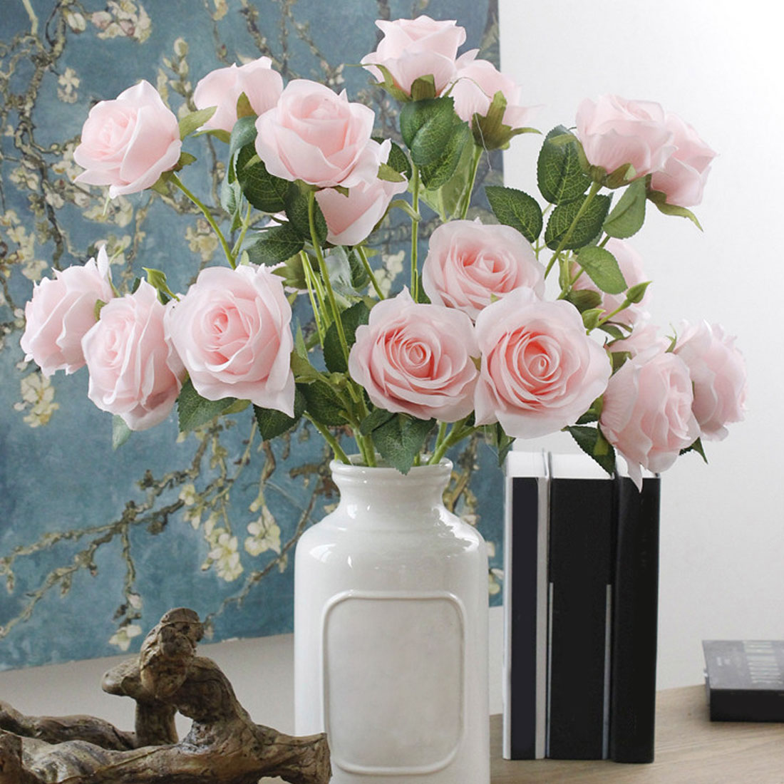 Rose Flower wedding decoration Artificial silk 1 Bunch 3 heads French Table Bouquet Fake Flower Wedding Home Party accessory fake rose flowers