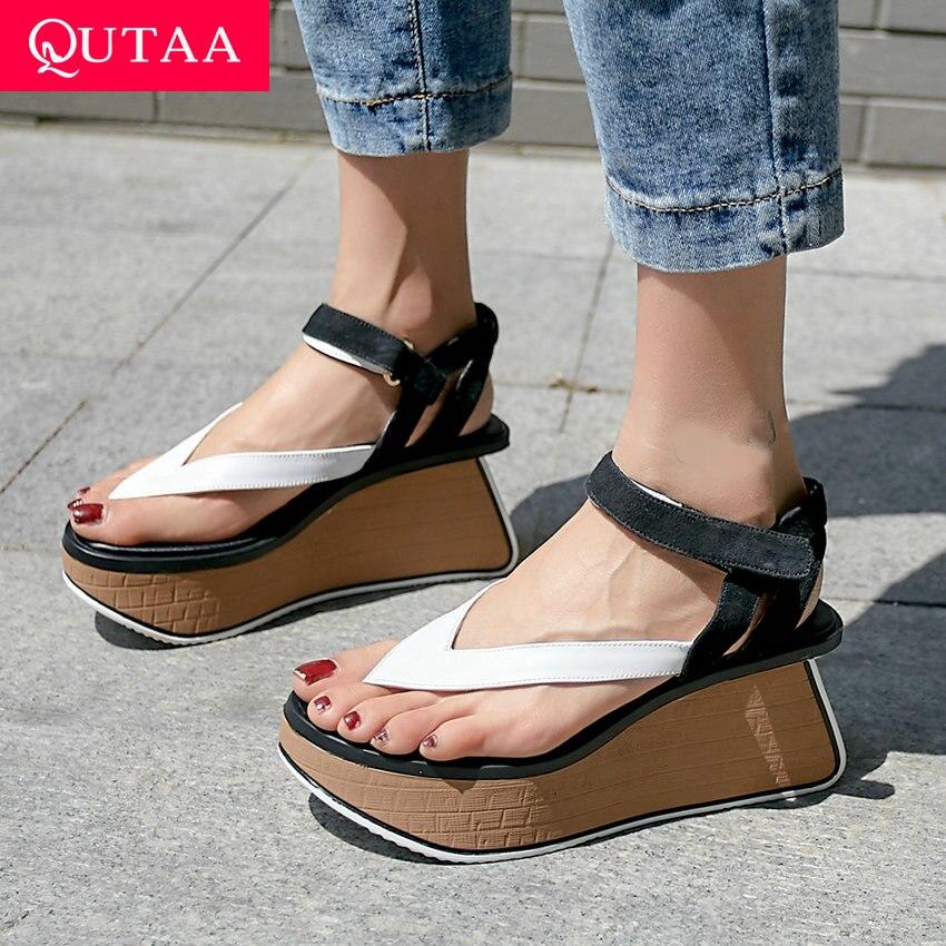 QUTAA 2020 Women Pumps Flock Fashion Women Shoes Square