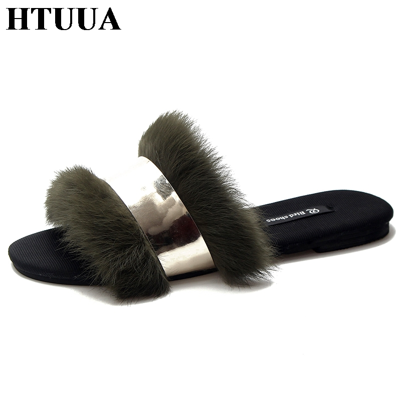 2d98f95d8 HTUUA Fluffy Fur Slippers Women Fashion Metal Bling Furry Slides Flat Flip  Flops Summer Winter Home Slipper Ladies Shoes SX1575-in Slippers from Shoes  on ...
