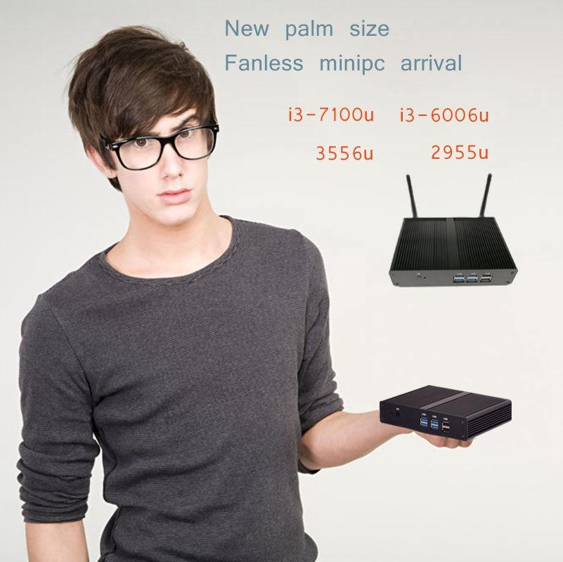 Brand New Fanless Pc I3 4010Y/i3 6006U Windwos 10 Pc HD 620 Celeron 2955u /3556U Freeshipping 3 Year Warranty Wifi HTPC