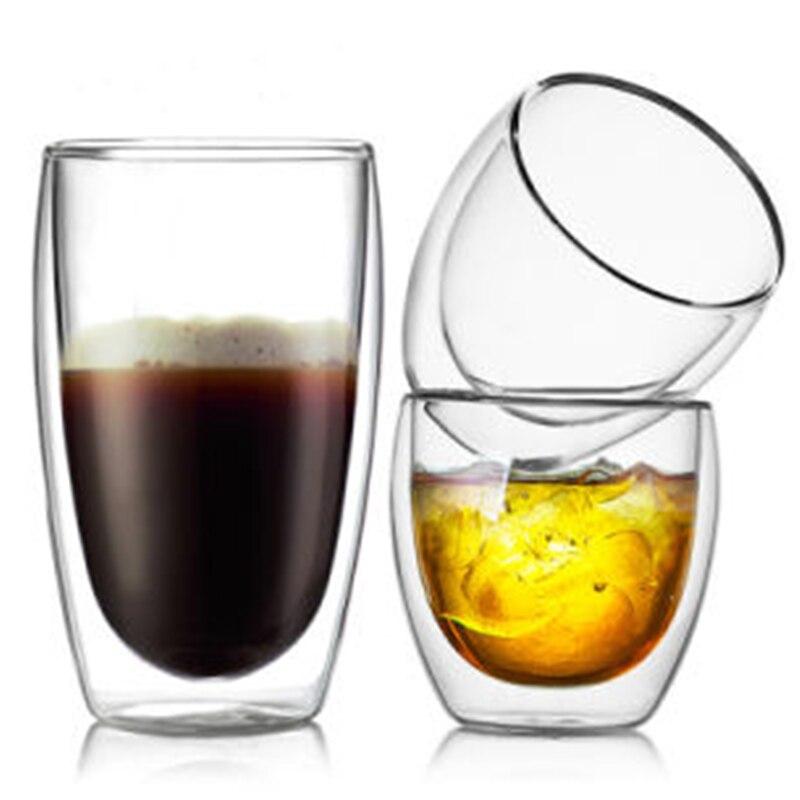 1 Pcs résistant à La Chaleur À Double Paroi En Verre Tasse de Bière Tasse de Café Mis La Main Creative Bière Tasse Thé verre Transparent verres