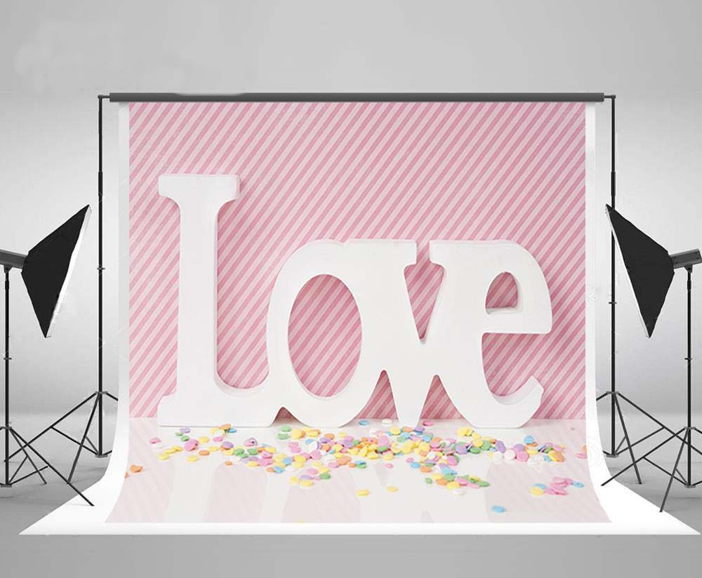 Colored Candy Love Valentines Day Pink Striped Photography Backgrounds Vinyl cloth Computer printed wall  photo backdrop bicycle lpv love promise of vow poke valentines day gifts
