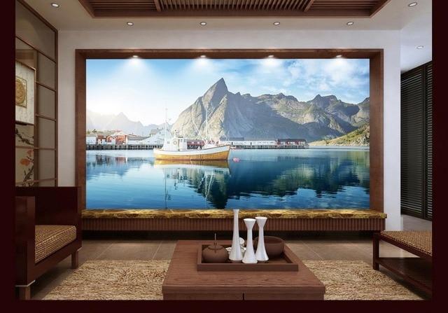luxe achtergrond wallpapers custom 3d muurschildering behang blauwe hemel en witte wolken mountain landschap photo muur