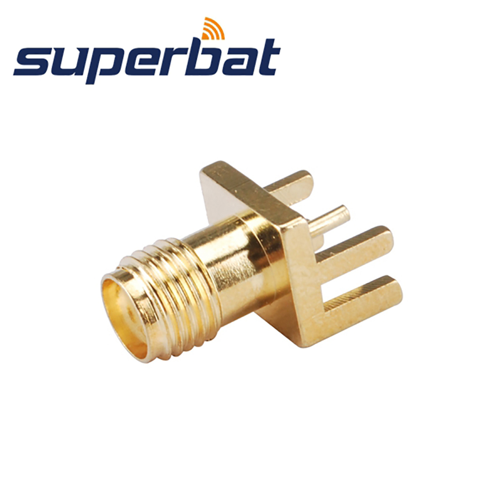 Superbat 10pcs RF SMA Connector End Launch Jack Female PCB Mount wide flange .062(1.57mm) Free Shipping