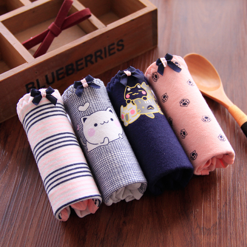 Cute Cat Print Young Girls   Panties   Underwear Women's   Panties   Cotton Briefs Women Autumn Winter Cotton Lingerie Briefs Ladies