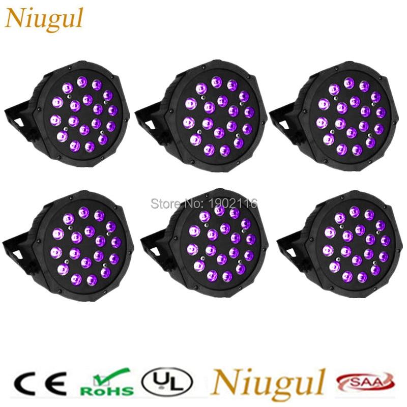 6pcs/lot 18X3W led par lights purple Flat par dmx512 control disco light professional stage dj equipment led wash effect lights