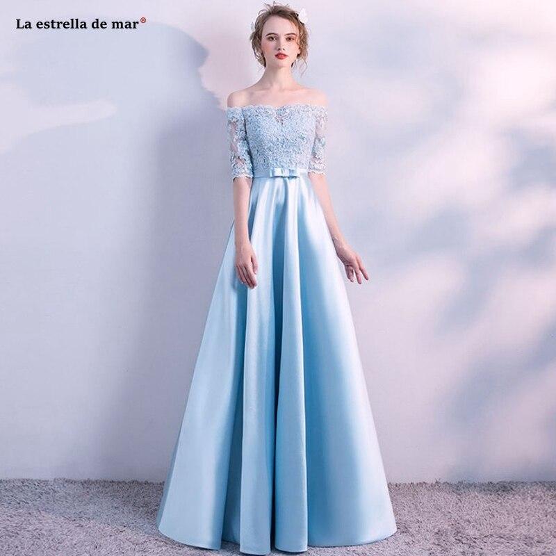 Wedding guest   dress   new Off the Shoulder lace satin half sleeve A Line sky blue   bridesmaid     dress   long robe demoiselle d'honneur