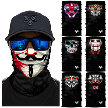 V for Vendetta Anime Bike Ski Seamless Balaclava Headwear Joker Skull Neck Bandanas Windproof Magic Scarf Cycling Hik Masks