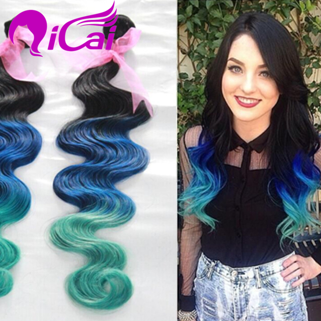 Cheap Ombre 3 Tone 1bbluegreen Hair Weave Brazlian Virgin Remy