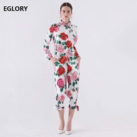 Women's Clothing Sets 2019 Summer Pants Suit Ladies Turn down Collar Rose Flower Print Long Sleeve Shirt+Calf Pants & Capris Set