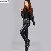Autumn 5XL size Large size PU leather ladies Pants fashion High waist Casual pants Thick warm artificial leather black Pants