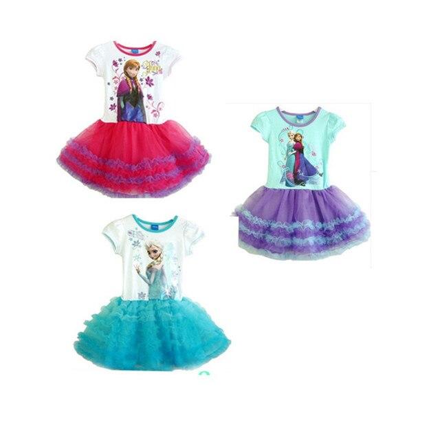 Frozen girls short-sleeved dress girls gauze ball gown princess  Kids dresses summer