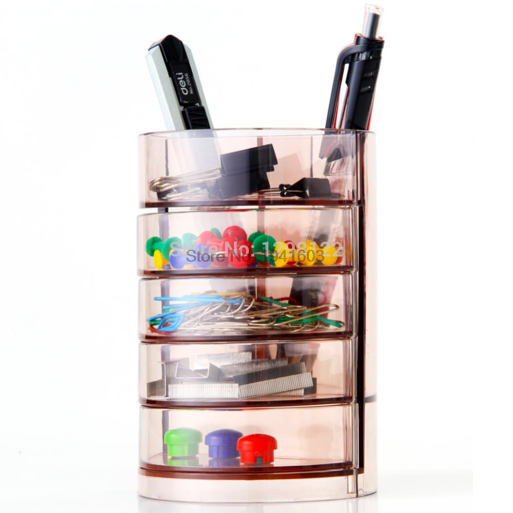 1 Pcs Four plastic pen holder Deli 906 effective home office storage box fashion multifunctional pencil barrel teacher gifts deli 9145 stylish pc pencil pen holder deep pink wood