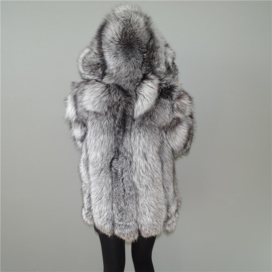 На заказ Настоящий Серебряный лисий мех вертикальные полосы Лоскутная кожа полоса пальто с капюшоном верхняя одежда длинная куртка зимняя ...