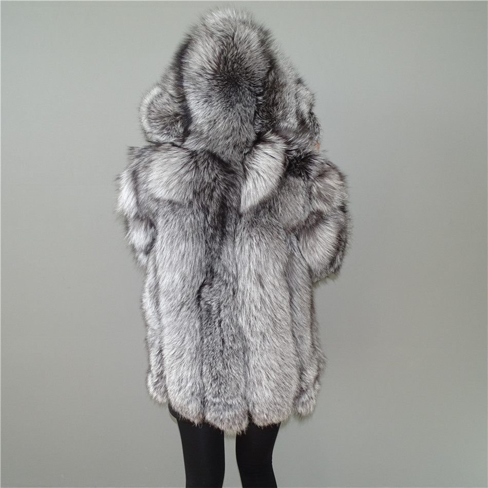 Personalizzato Reale Silver Fox Fur strisce Verticali in pelle patchwork stripe hooded cappotto outwear giacca lunga parka inverno Trincea