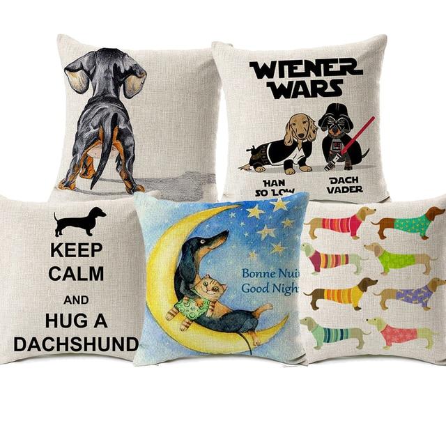 Us 475 32 Offwiener Wars Poduszka Pokrywa Dachshunds Pies Dekoracyjne Poszewki Pościel Poszewki Dla Psów Domowych W Wiener Wars Poduszka Pokrywa