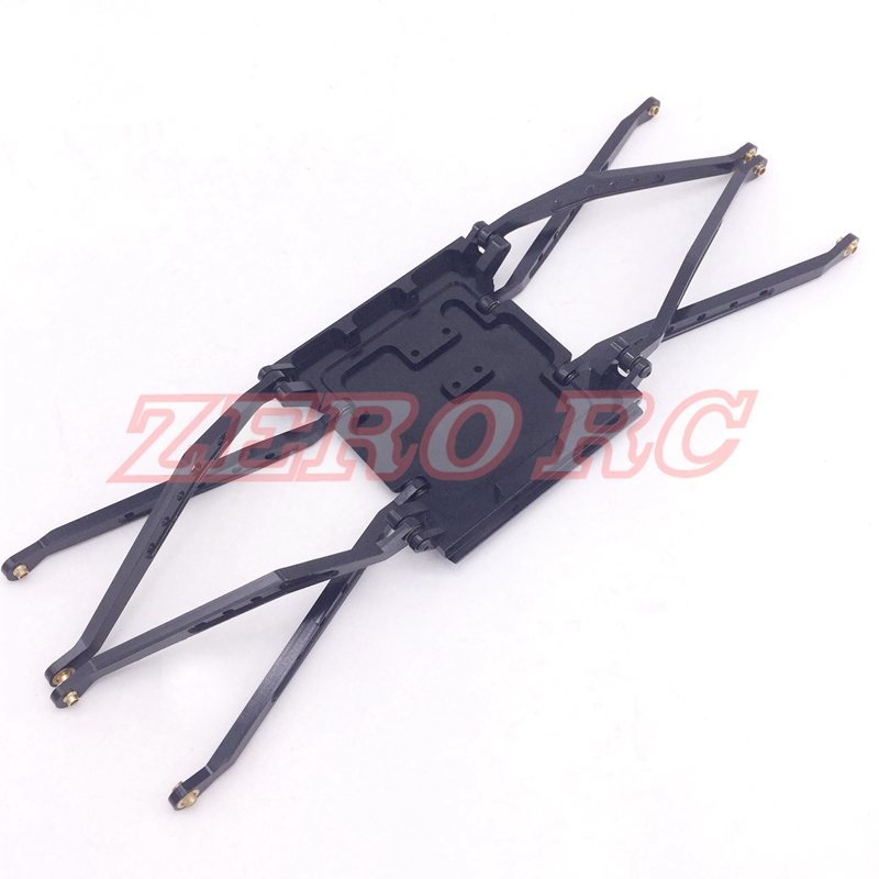RC 1 10 AXIAL WRAITH ALLOY ALUMINUM CENTRAL SKID PLATE WITH 8 SUSPENSION LINKAGE ROD BLACK