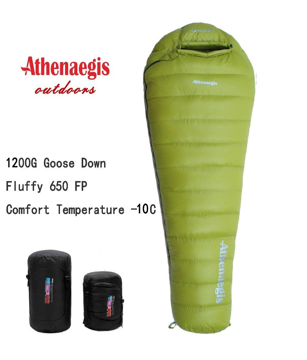 Athenaegis ultraléger imperméable confortable 1200g duvet d'oie blanche peut être épissé hiver sac de couchage