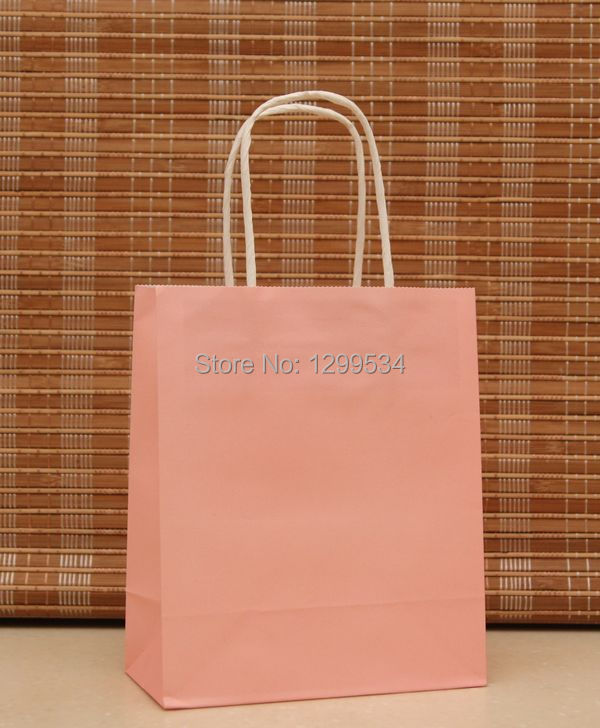 Hot Sale 20pcs/lot Pink Paper Gift Bag 18x15x8cm Recyclable Boutique Gift Jewelry Packaging Bags Shopping Kraft Paper Bags