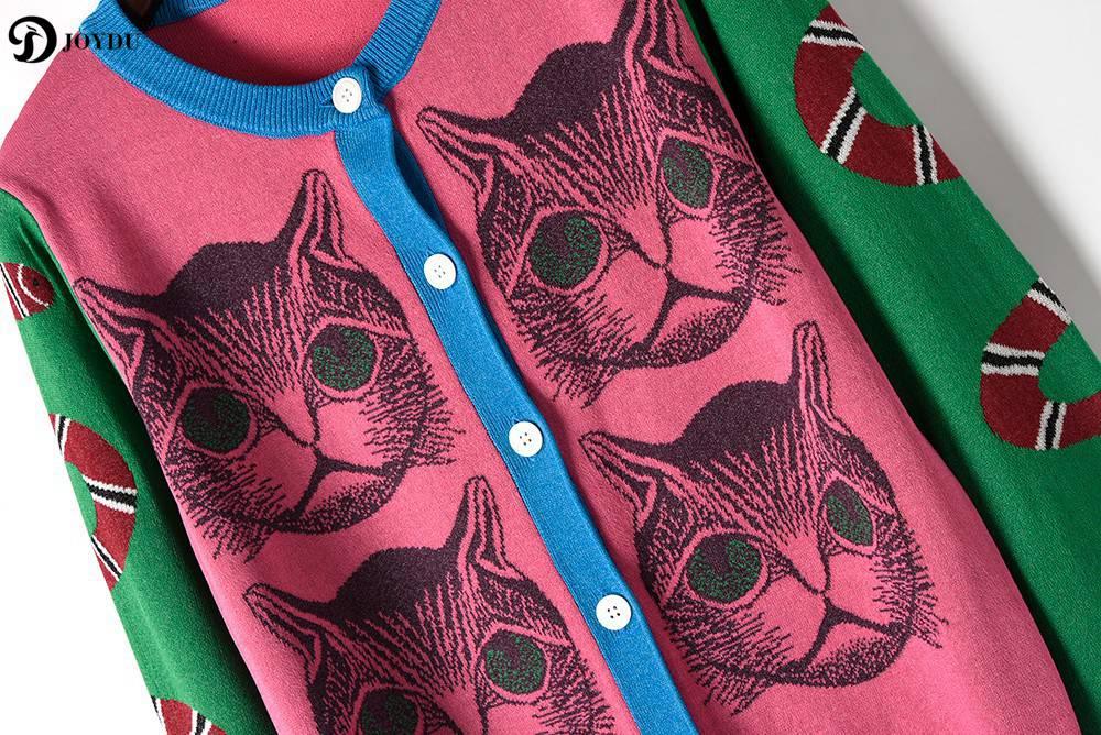 Nouveauté 2018 Suéter As Tricoter Nouveau Cardigan Chat Jumper Lady Chandail Piste Shows Picture Top Printemps Conception Tricot Pull Serpent Motif Mujer Joydu XwST7xqAw