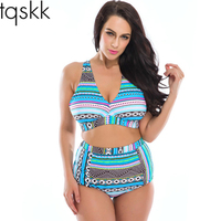 Plus Size Swimwear High Waist Swimsuit High Neck Bikini 2016 Cross Bikinis Women Swimsuit Top Bathing