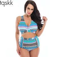 Plus Size Swimwear High Waist Swimsuit High Neck Bikini 2016 Cross Bikinis Women Swimsuit Top Bathing