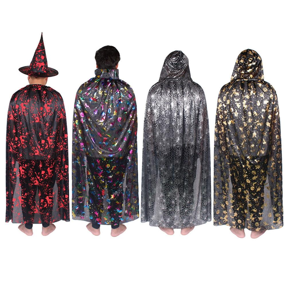 Male Cosplay Cape With Hat Halloween Cape Vampire Wizard Mantle Horror Theme Costume Prop Festival Cloak Stage Show Suit