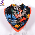 [BYSIFA] Winter Brand Matt Satin Scarves For Women 2016 New Style Female Red Black Leopard Square Silk Scarf Shawl Spring Autumn