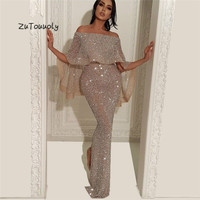 Flare Bling Sequins Evening Gowns With Sleeves Glitter Arabic Dubai Plus Size Mermaid Prom Dresses With Caped Night Dress 2019