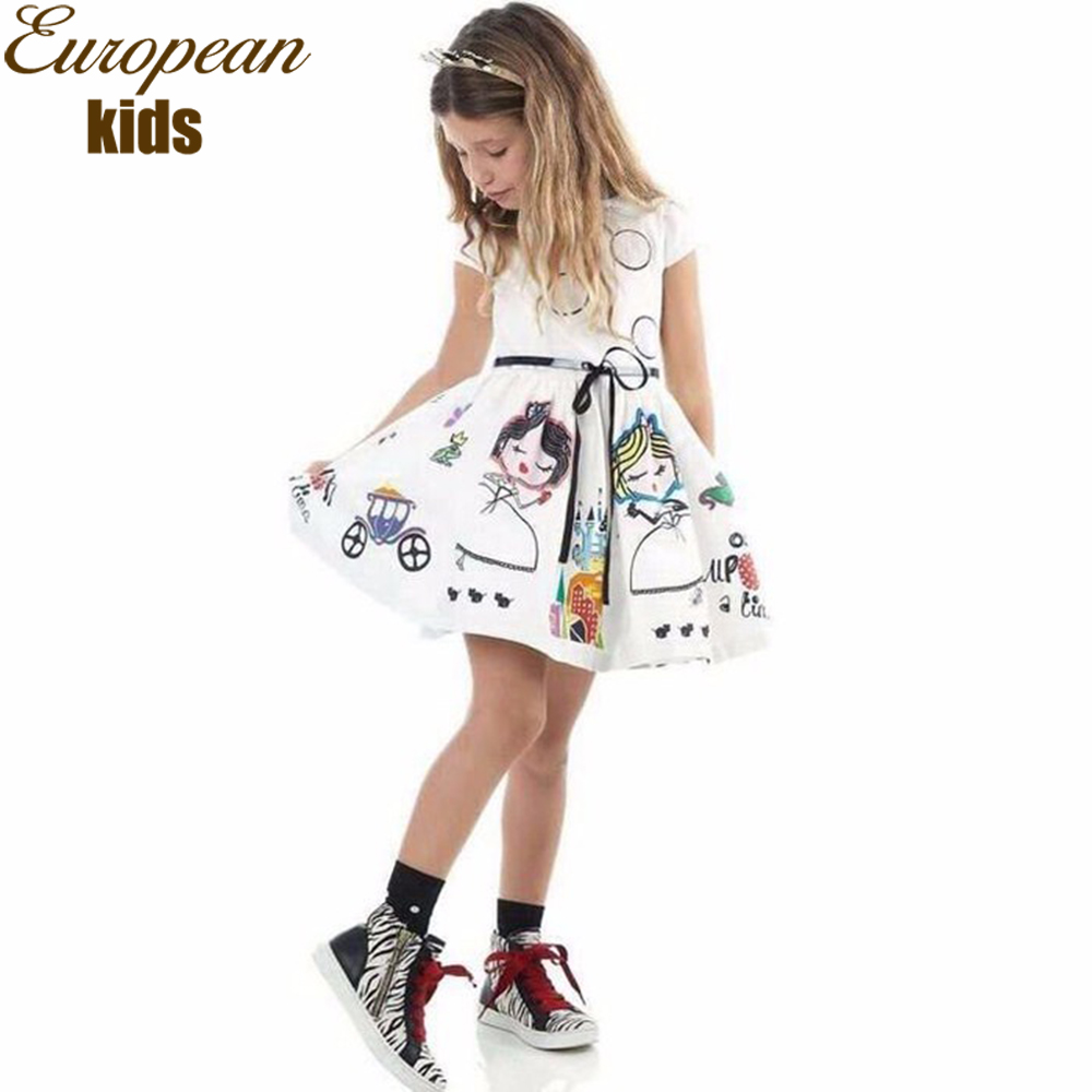 Подробнее о Kids Summer Dress Girl Robe Fille 2017 Brand Girls Princess Dress Kids Clothes Character Flower Printing Toddler Girl Clothing baby girl dress 2016 brand girls summer dress children clothing lemon print kids dresses for girls clothes robe princesse fille