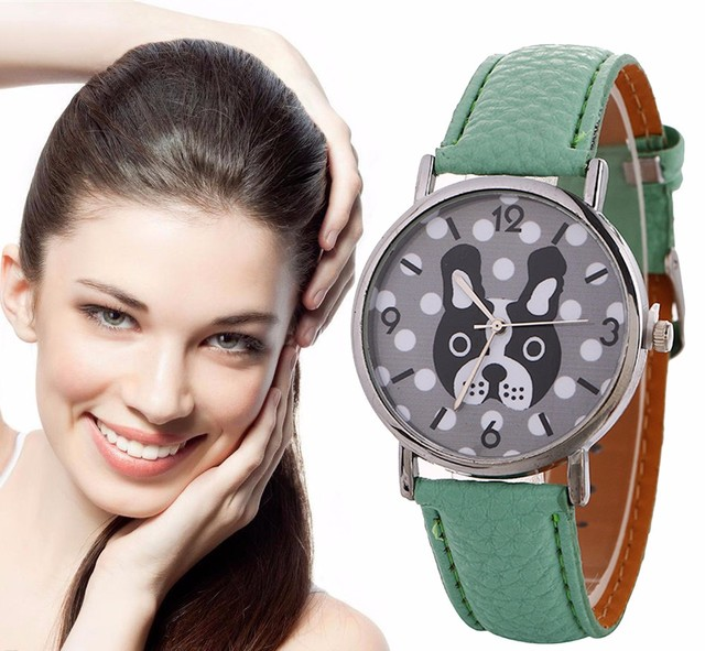 Dog watch Women Watches Animal Pattern Quartz Watch Leather Strap Belt Ladies Wo