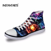 INSTANTARTS Cool Galaxy/Nebula Printed Men High Top Canvas Shoes Fashion Men's Vulcanized Shoes Spring/Autumn High top Sneakers