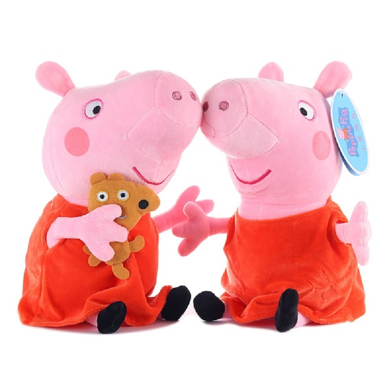 Peppa pig George pepa Pig Family Plush Toys 19cm Stuffed Doll & peppa pig bag Party decorations SchoolbagToys For Children 1