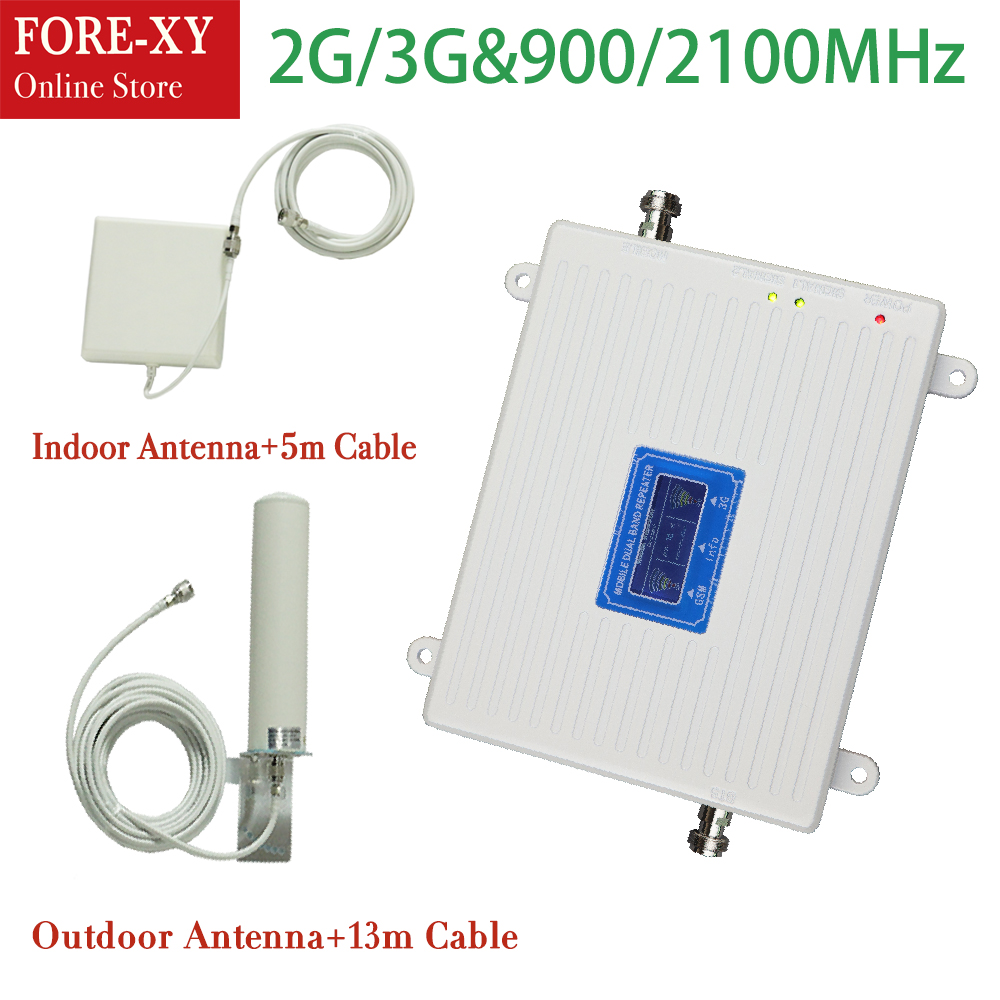 Full Set 900 2100 Mhz Dual Band 2g 3g Repeater Gsm 3g Repeater Mobile Phone Signal Booster Amplifier With Indoor Outdoor Antenna(China)