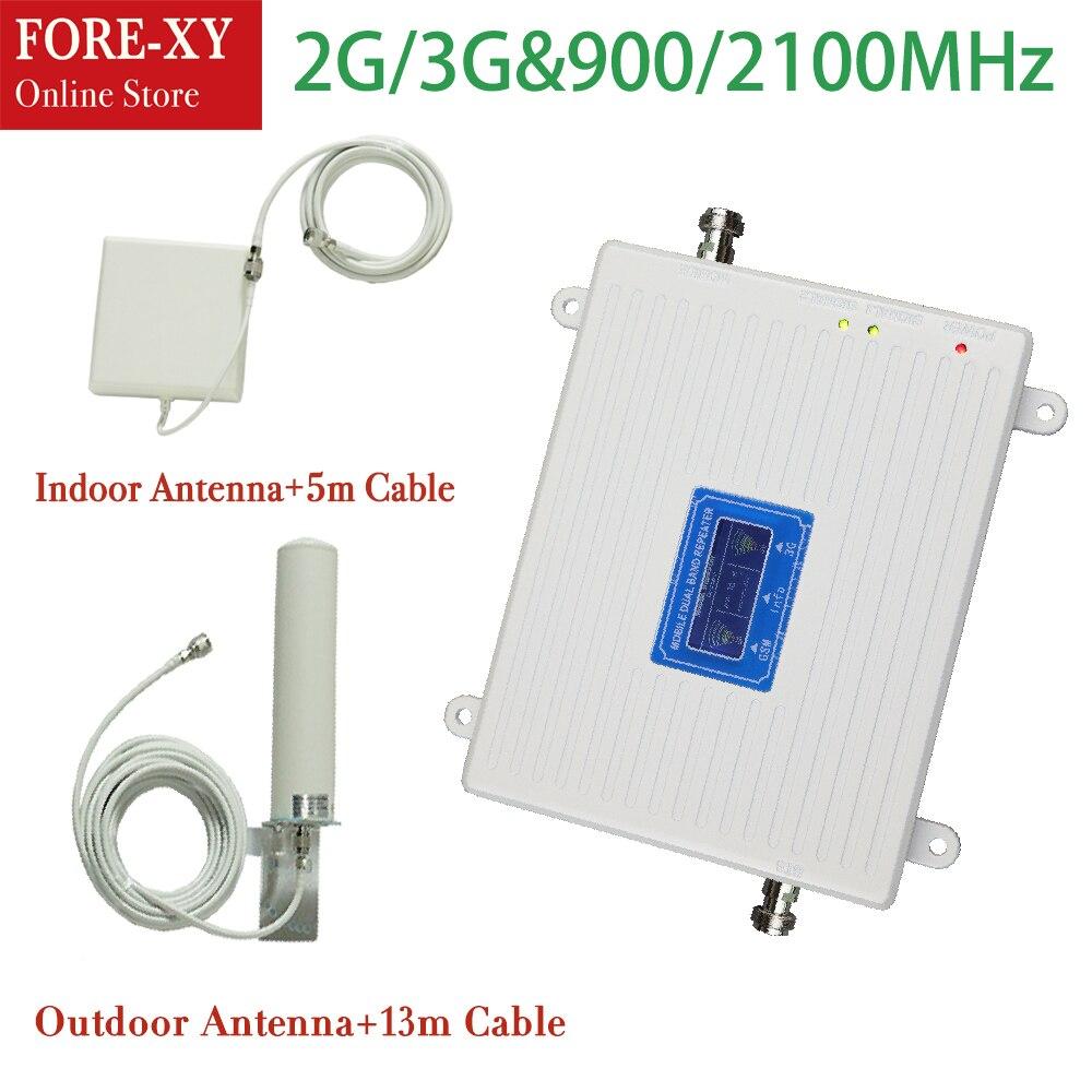 Ensemble complet 900 2100 Mhz double bande 2g 3g répéteur gsm 3g répéteur amplificateur de signal de téléphone portable avec antenne extérieure intérieure