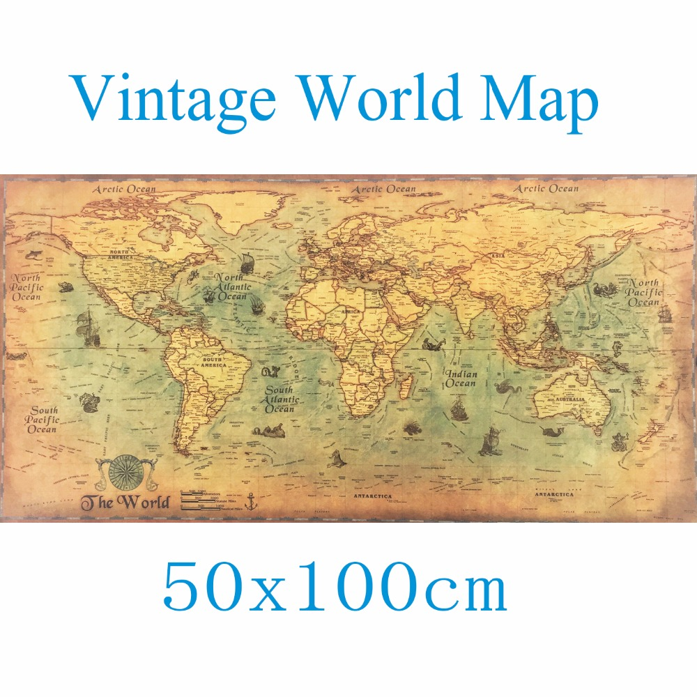 Large Vintage 50x100cm World Map Kraft Paper Paint Wall Sticker ...
