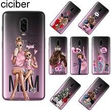 ciciber For Oneplus 6 6T 5 5T Back Cover Soft Silicone TPU Phone Cases 1+ T Princess Super MaMa Mom Girls Coque Fundas