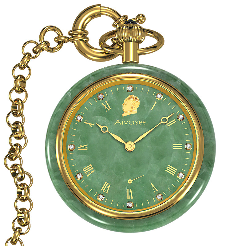 Nouvelle mode mécanique Jade poche hommes montre authentique marque montres de poche Top luxe Style classique populaire Jade mâle horloge